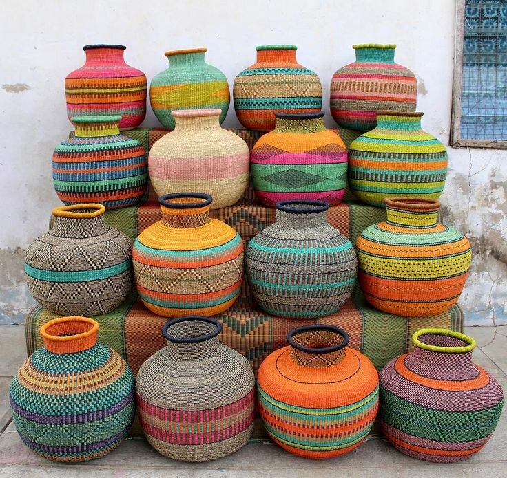 Ghana, West Africa – Bolga baskets made from elephant grass