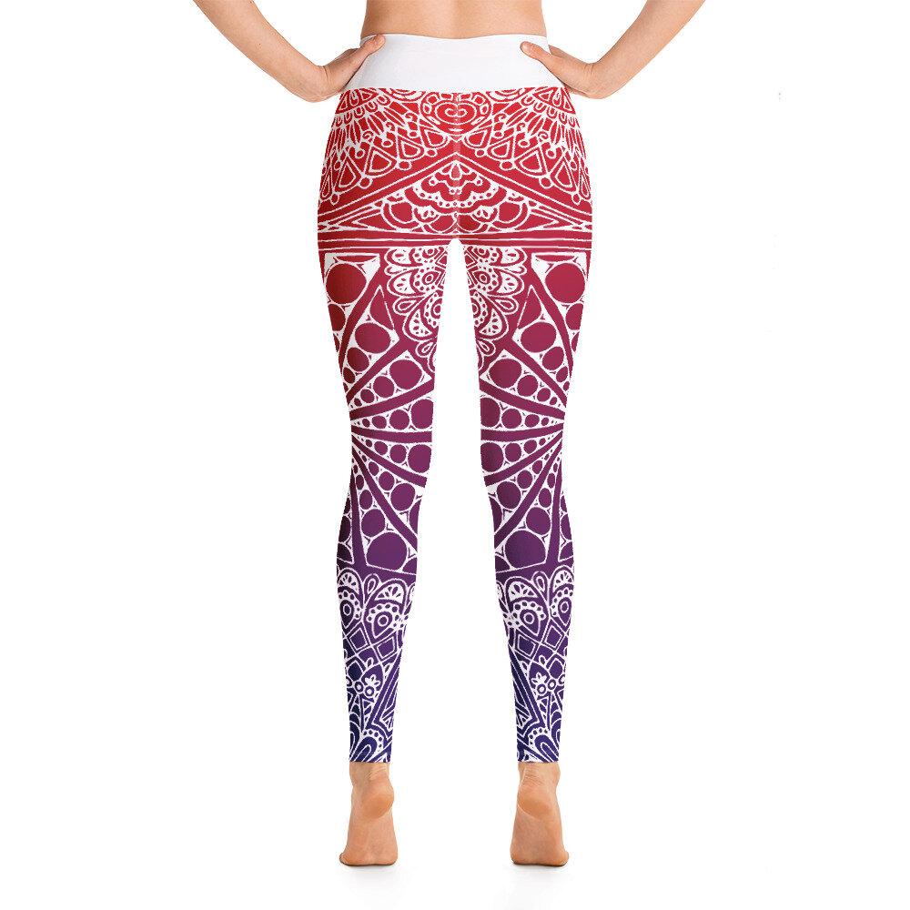 Red Mandala Yoga Leggings