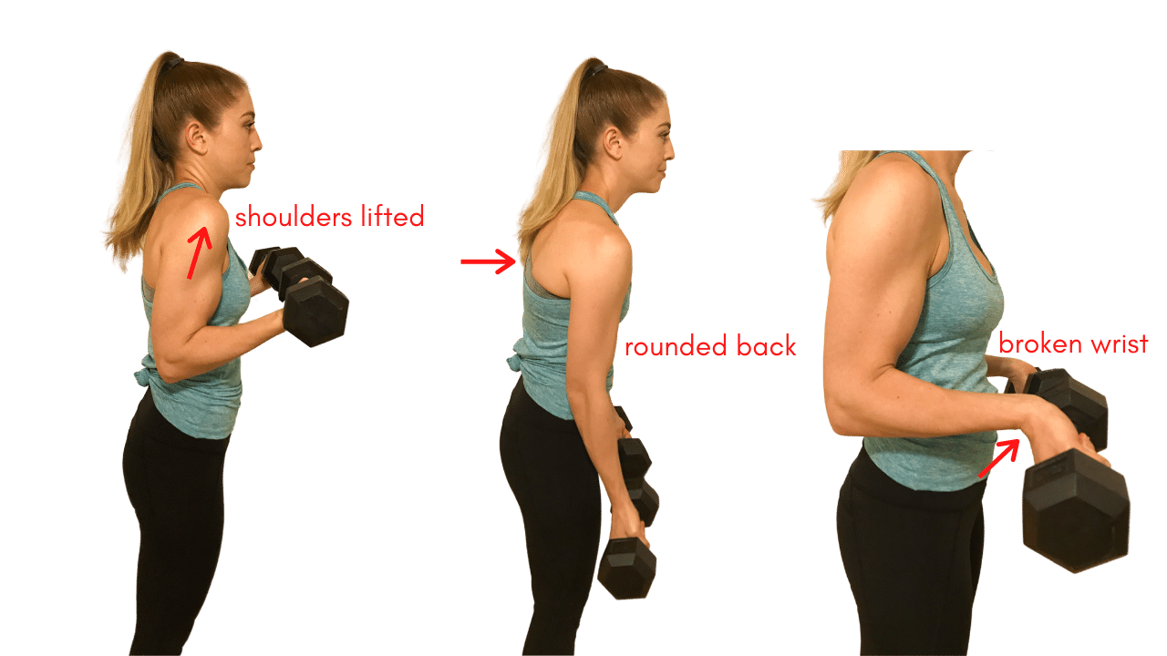 Bicep curl arm exercise improper form