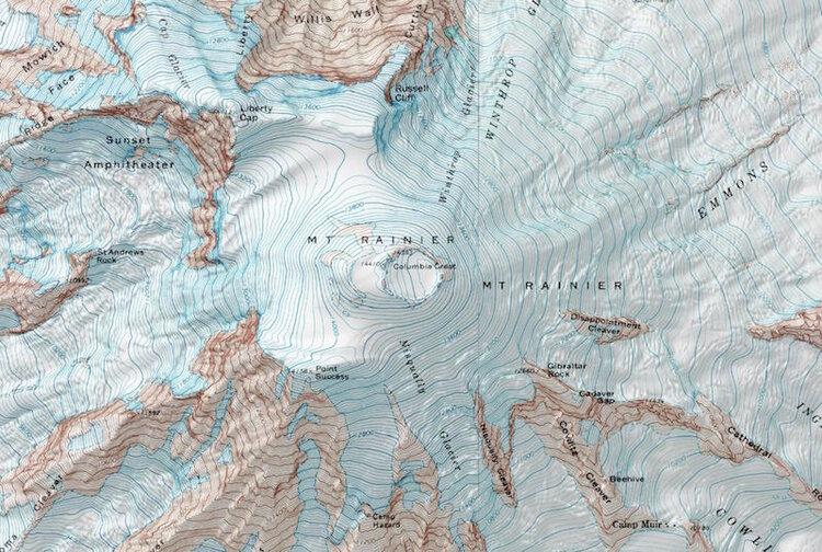 Topographic map of Mount Rainier