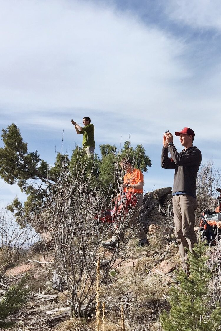 Colorado Mountain Club students practicing map and compass navigation