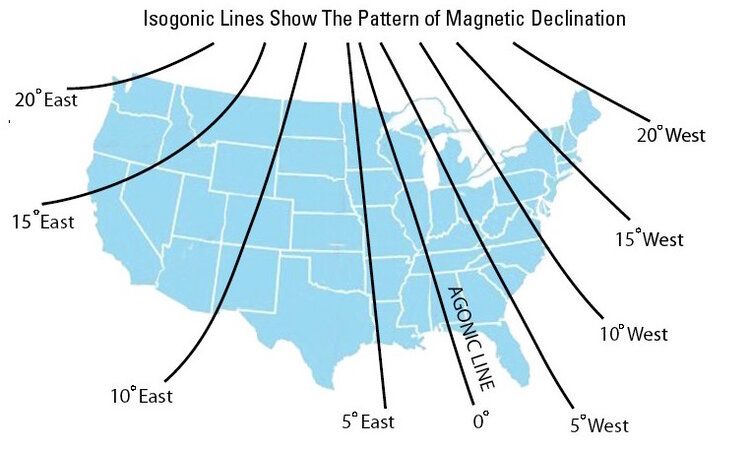 Magnetic declination map of the United States