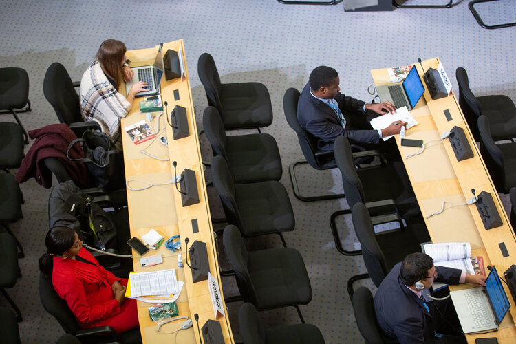 Social Distancing during a meeting at the Palais des Nations (Copyright: Valerii)