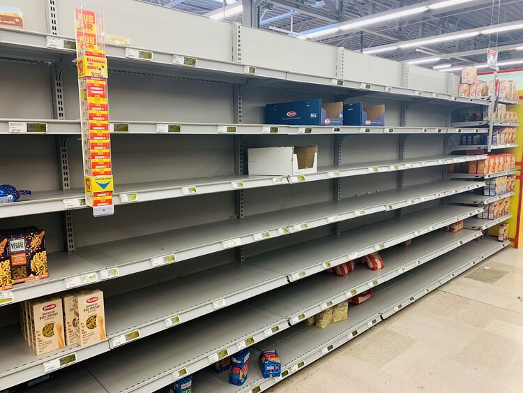 Figure 1. Shortages at the supermarket in Ferney-Voltaire, during the Covid-19 pandemic. (Copyright: Kiva Sun)