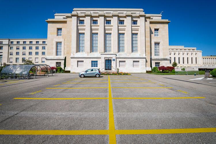 Empty parking of Palais des Nations - Copyright UN Photo - Matija Potocnik