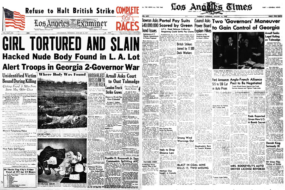 Two very different front pages on January 16th 1947.