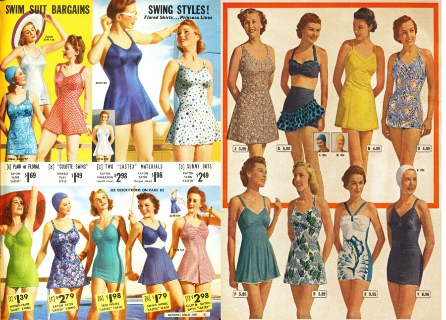 Pin-up girls and movie starlets wore two piece swimsuits for publicity shots. Most women bought the modest one piece with strapped bras.