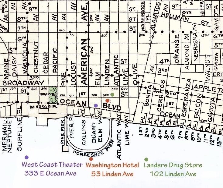 The Blue Dahlia plays on Ocean Ave and the Black Dahlia moniker is assigned on Linden Ave.