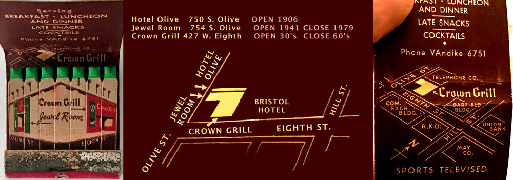 The Crown Grill & Jewel Room were separate businesses with same ownership in 1947. Hotel Olive occupied the 2nd & 3rd floor of building and had significant symbiotic relationships with the Jewel Room & the Crown Grill. In center image I embellish the matchbook map to show the Hotel Olive.