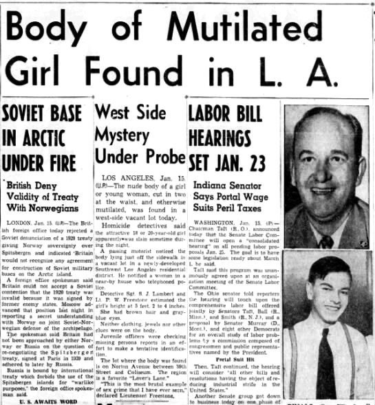 """Jan 15th edition of the Metropolitan Pasadena Star-News. """"A passing motorist noticed the body lying just off the sidewalk in a vacant lot…"""""""