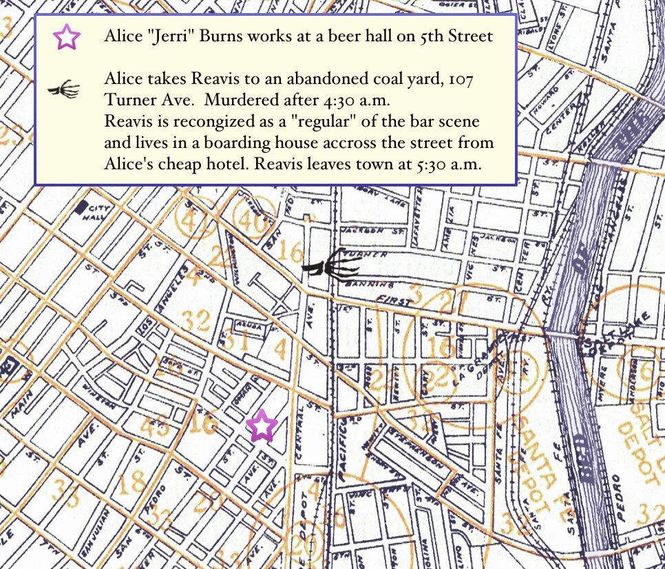 East side skid row location for Red Rose Murder. Jerri Burns