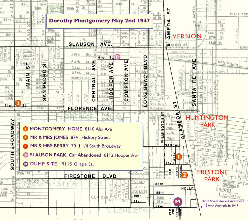 Dorothy Montgomery murder map