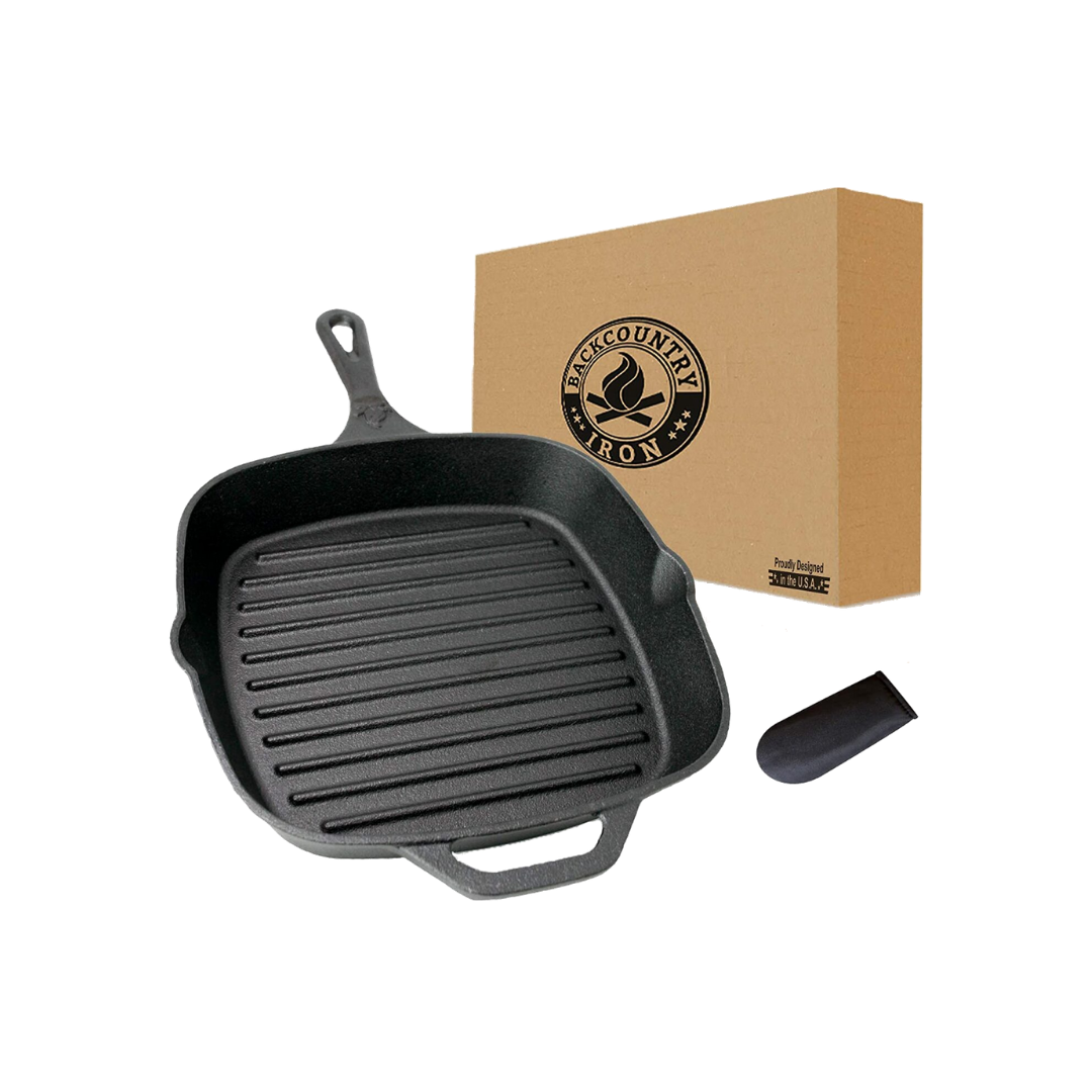 """Backcountry Cast Iron 12"""" Large Square Grill Pan"""