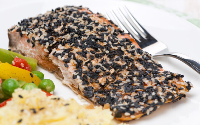 Sesame and Wasabi Crusted Salmon