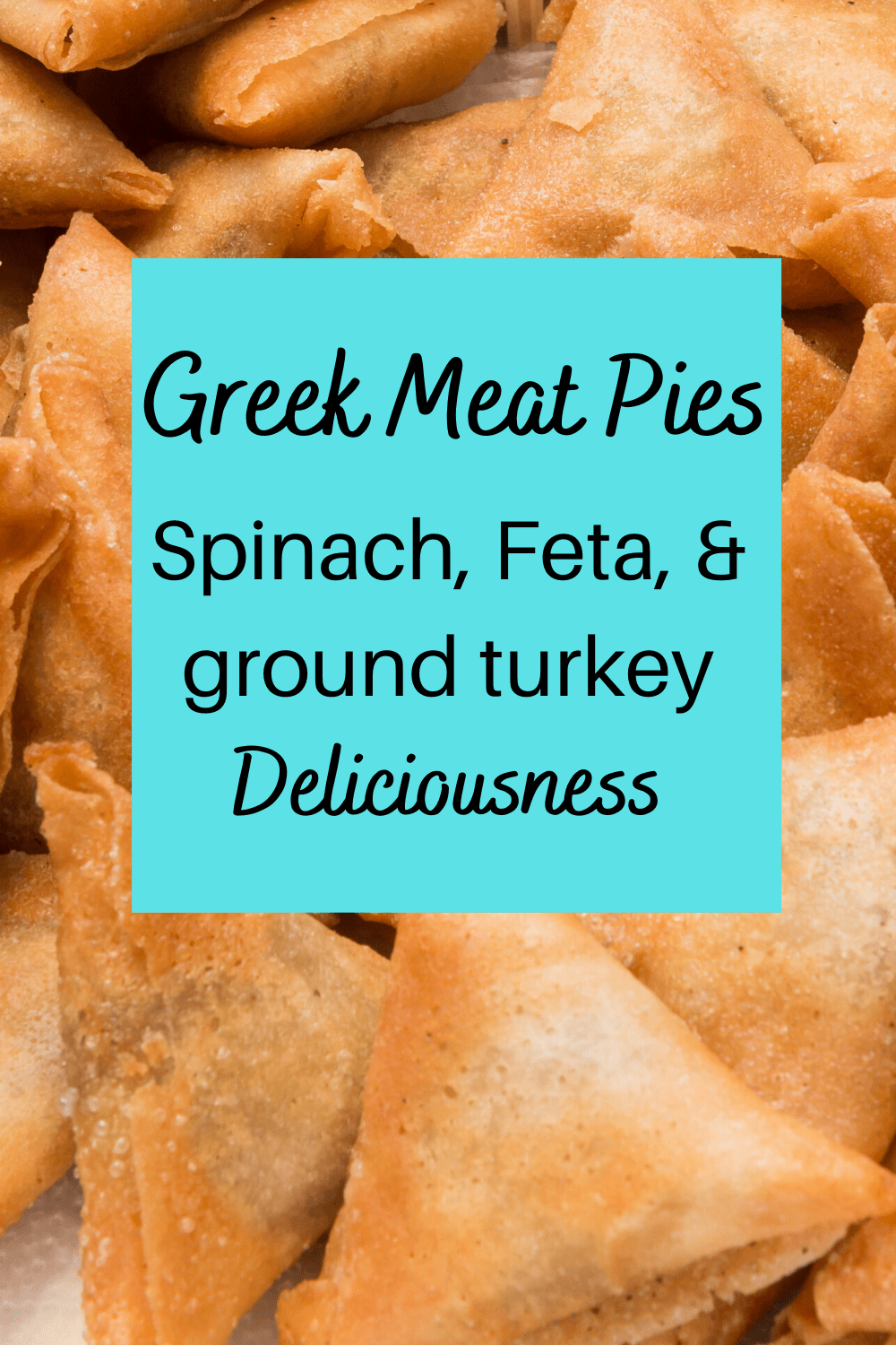 Pin with a plate of Greek pies.