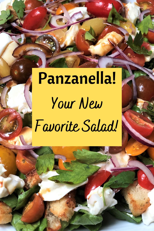 Pin for Burrata Panzanella Salad recipe