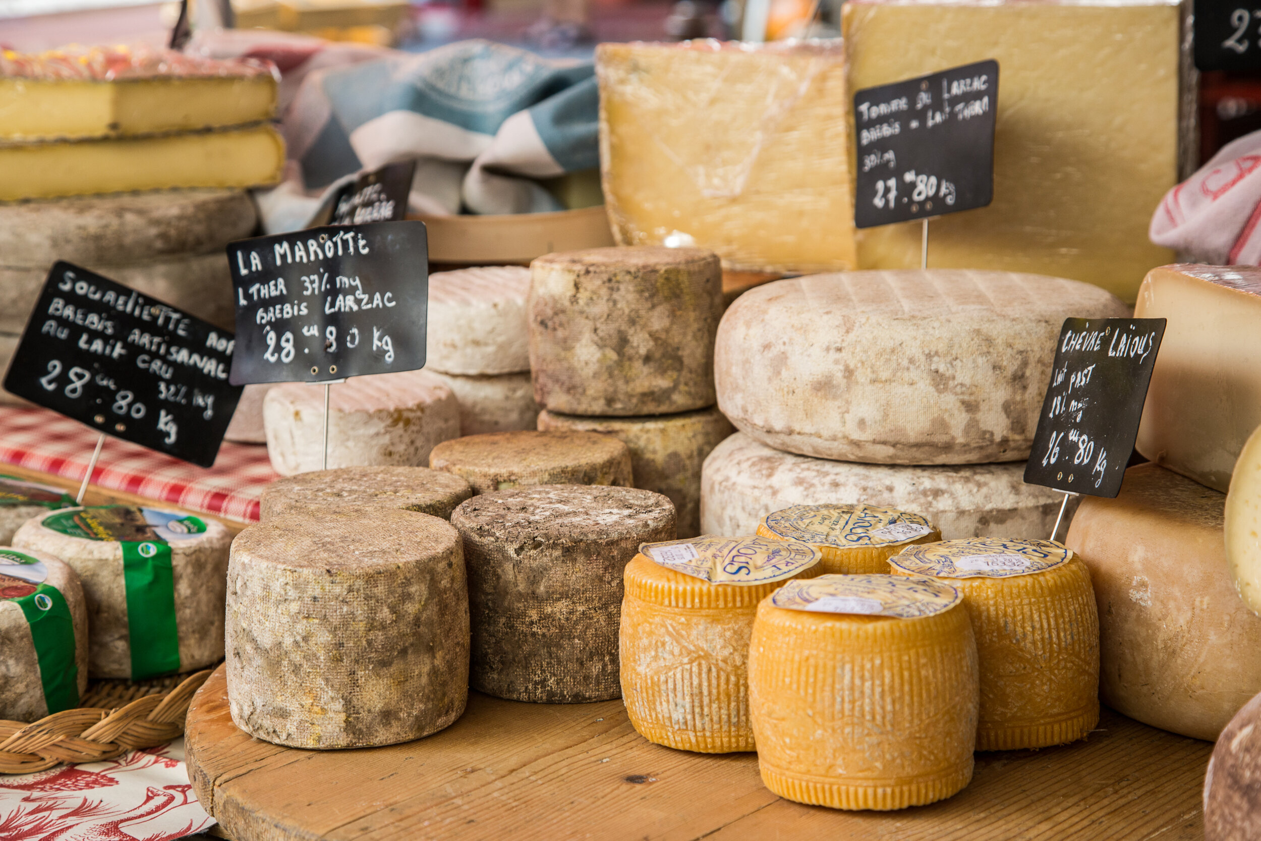 Cheeses for French cheese board