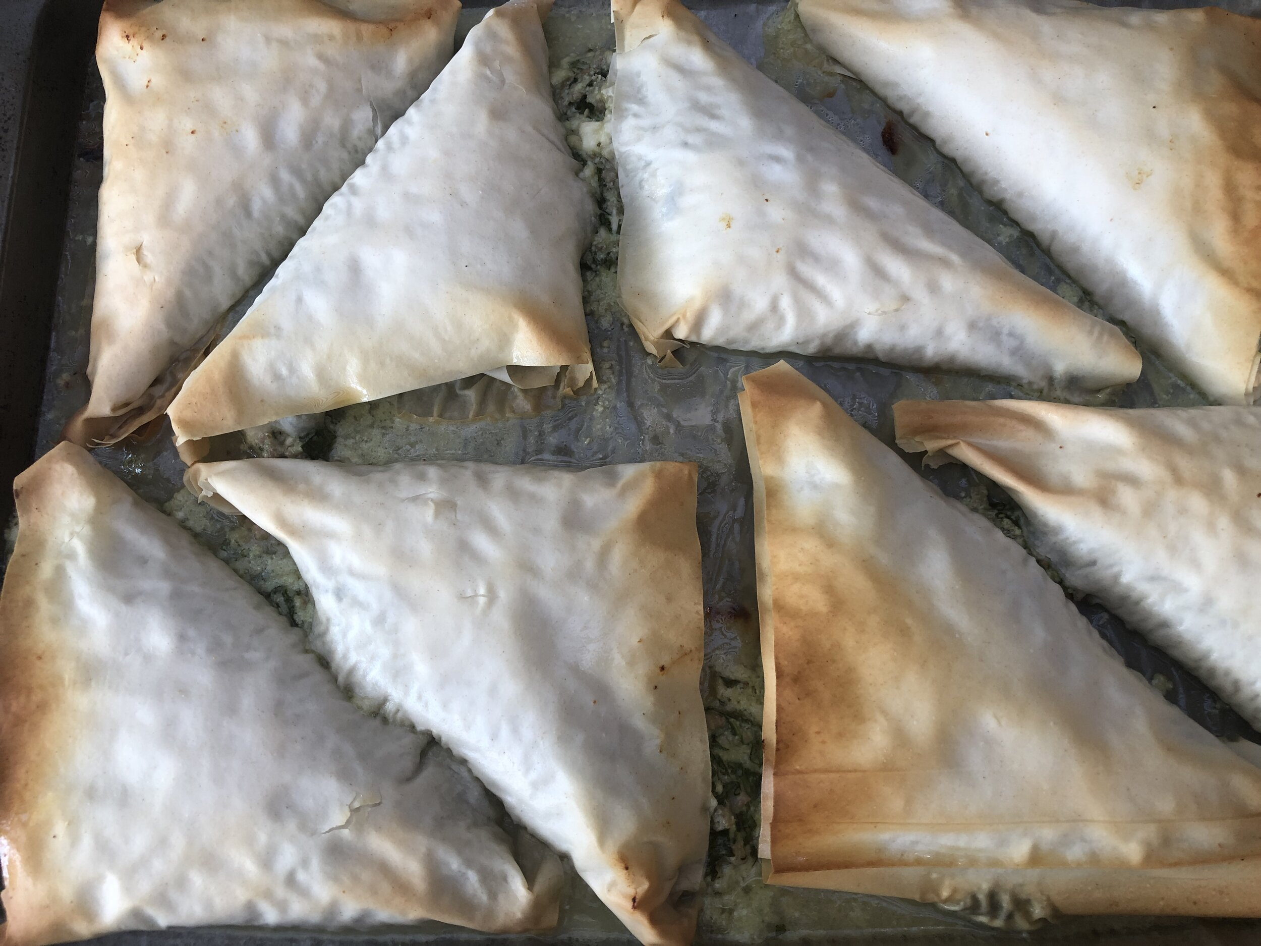 Greek meat pies out of the oven.