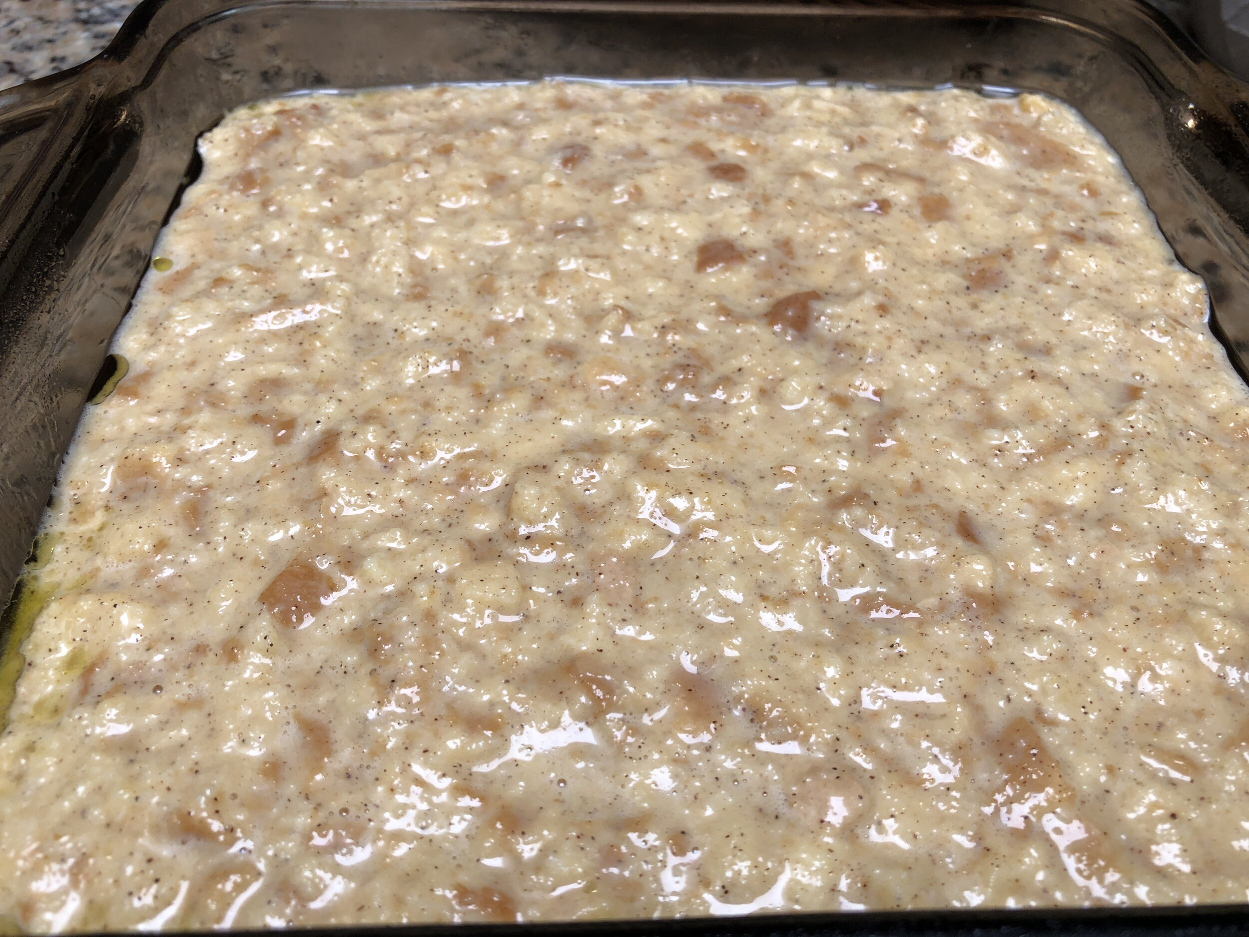 Maple Pecan French Toast Casserole poured into pan..JPG