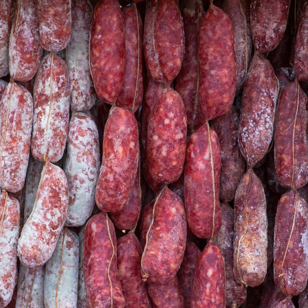Variety of salami and sopressata for Italian Charcuterie Board