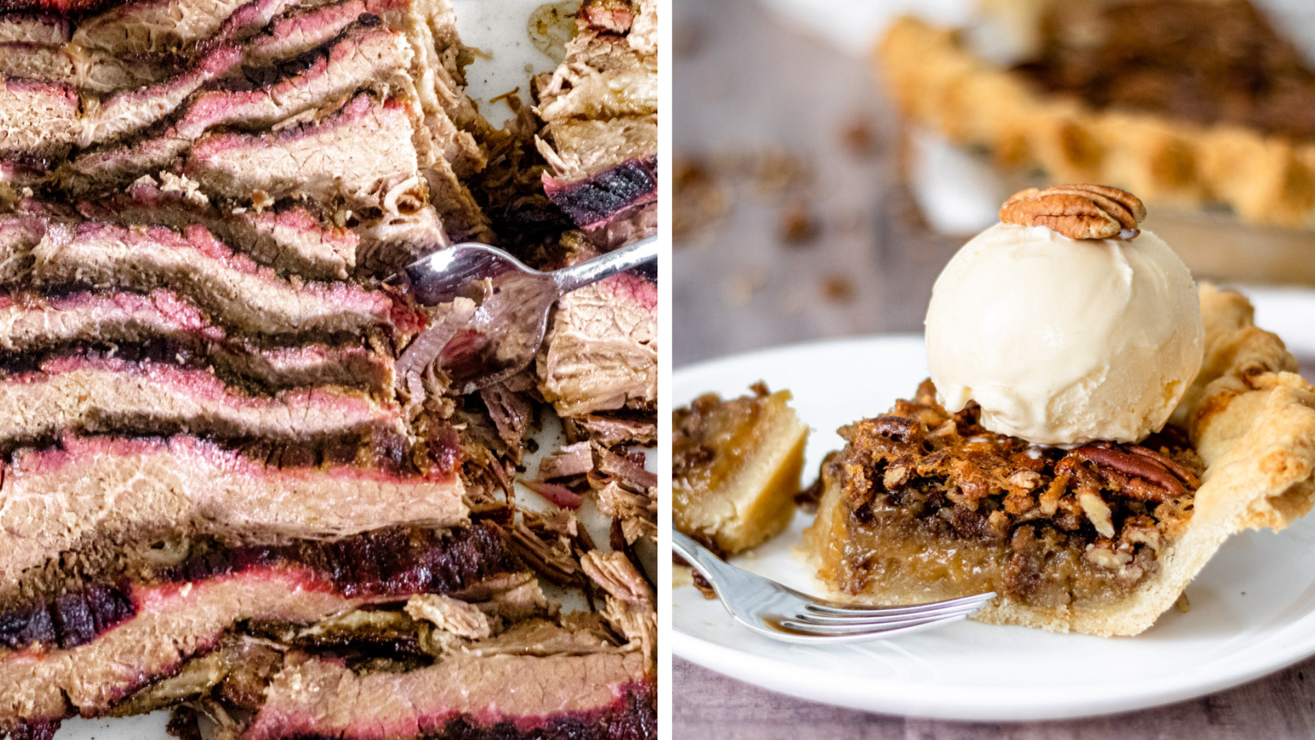 Barbecue Brisket & Pecan Pie on our Food Bucket List. Images courtesy of Erin from State of Dinner