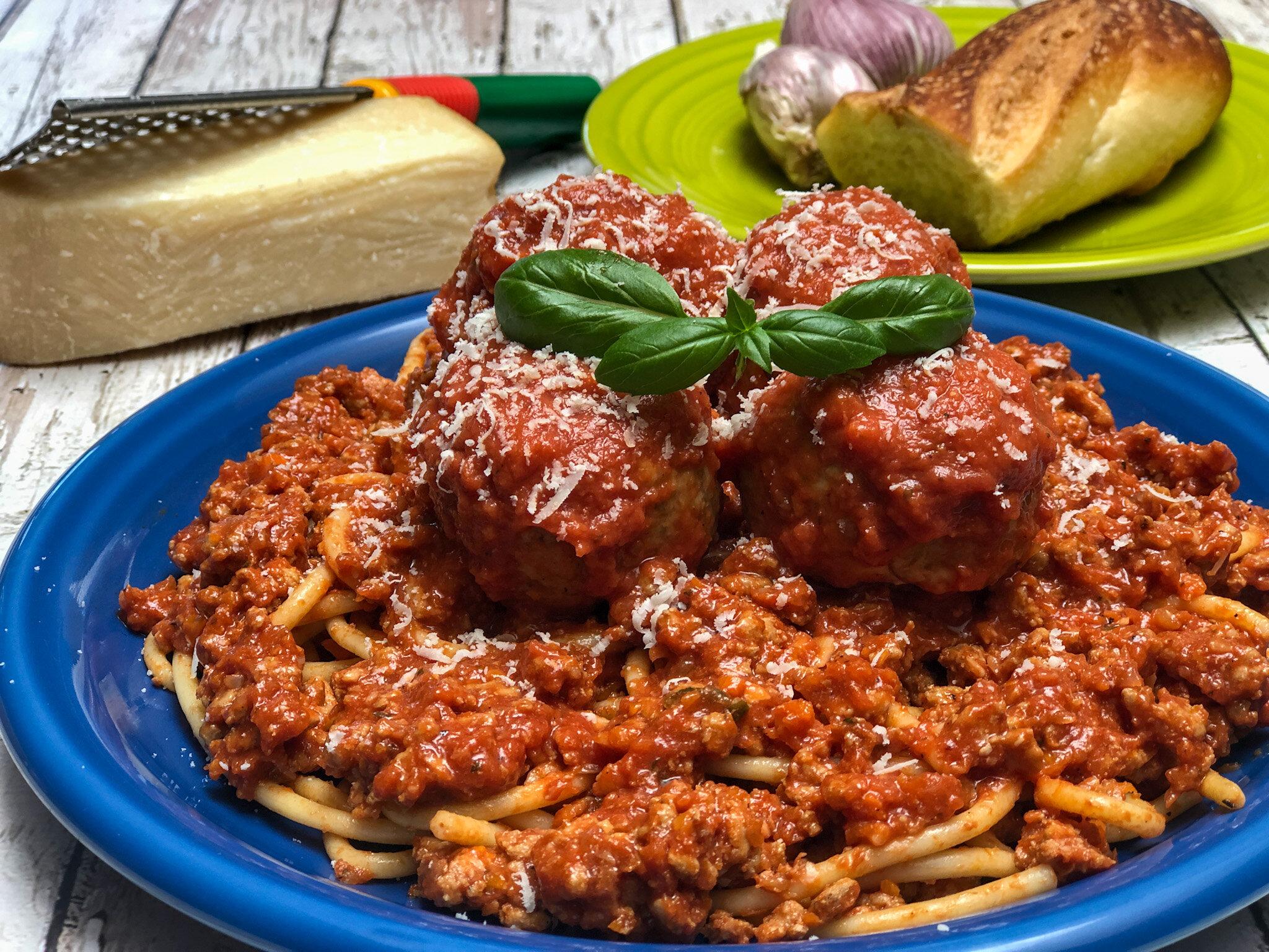 Italian Turkey Meatballs & Spaghetti