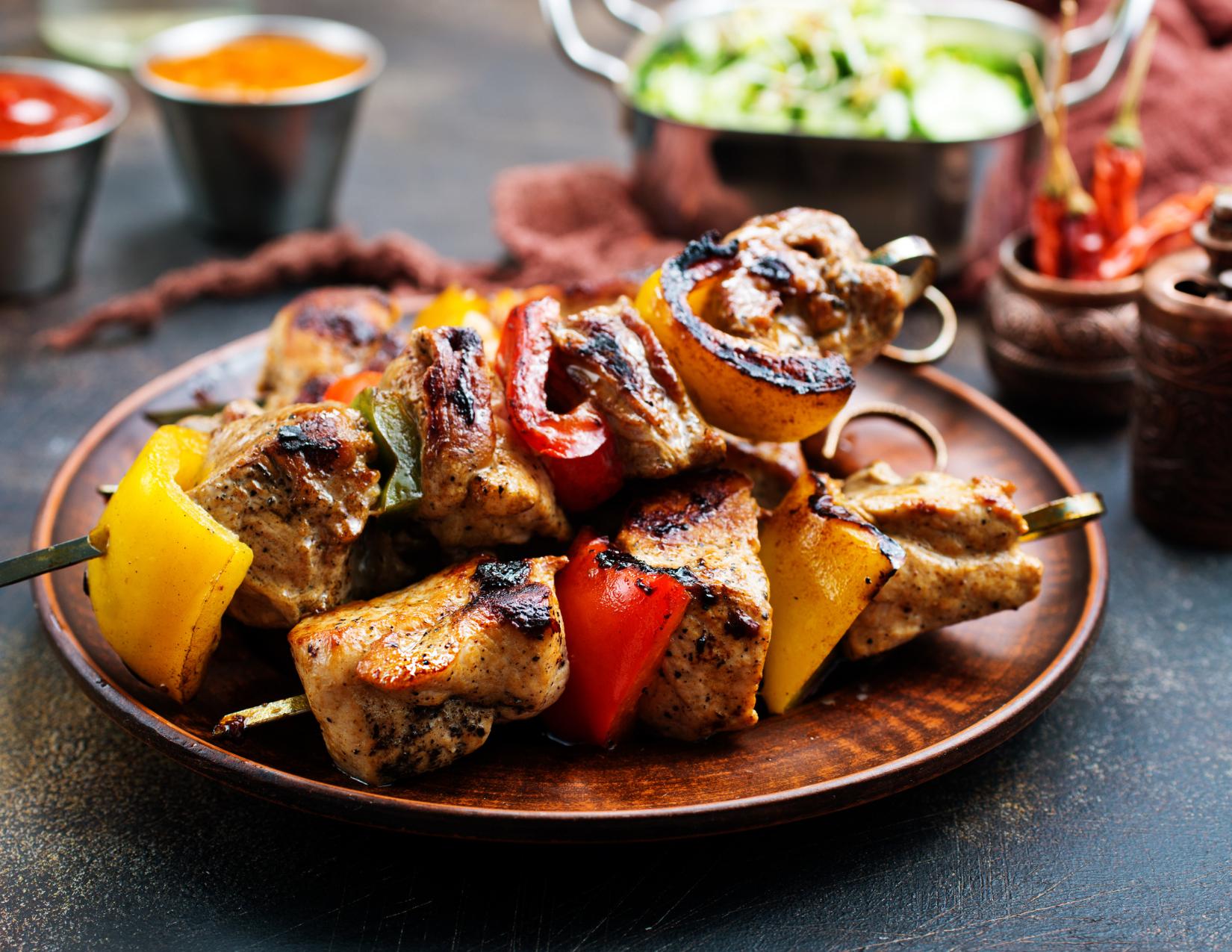 Turkish Sis Kebab with skewered cubed meat.