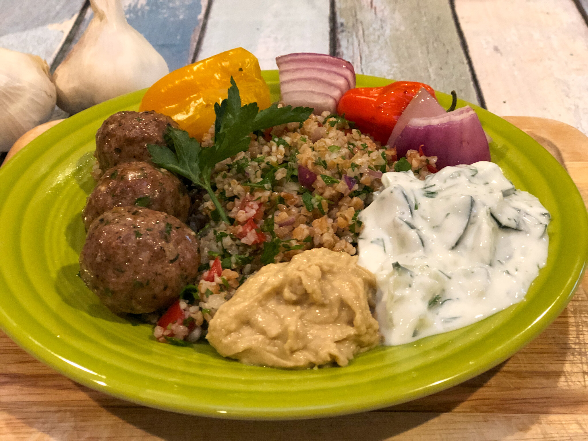 Fat-Free Tzatziki as a side dish to Mediterranean Meatballs.