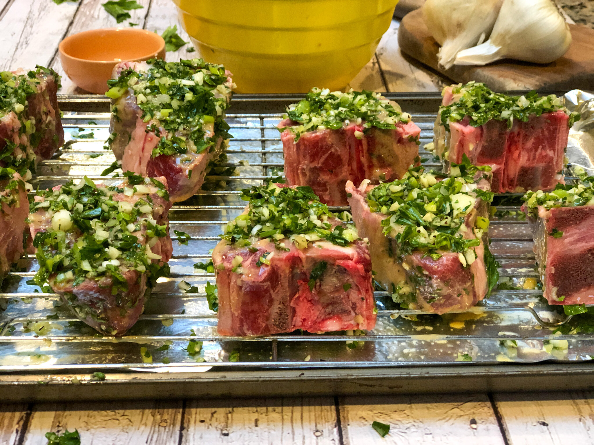 Mediterranean Lamb Chops ready for the oven.