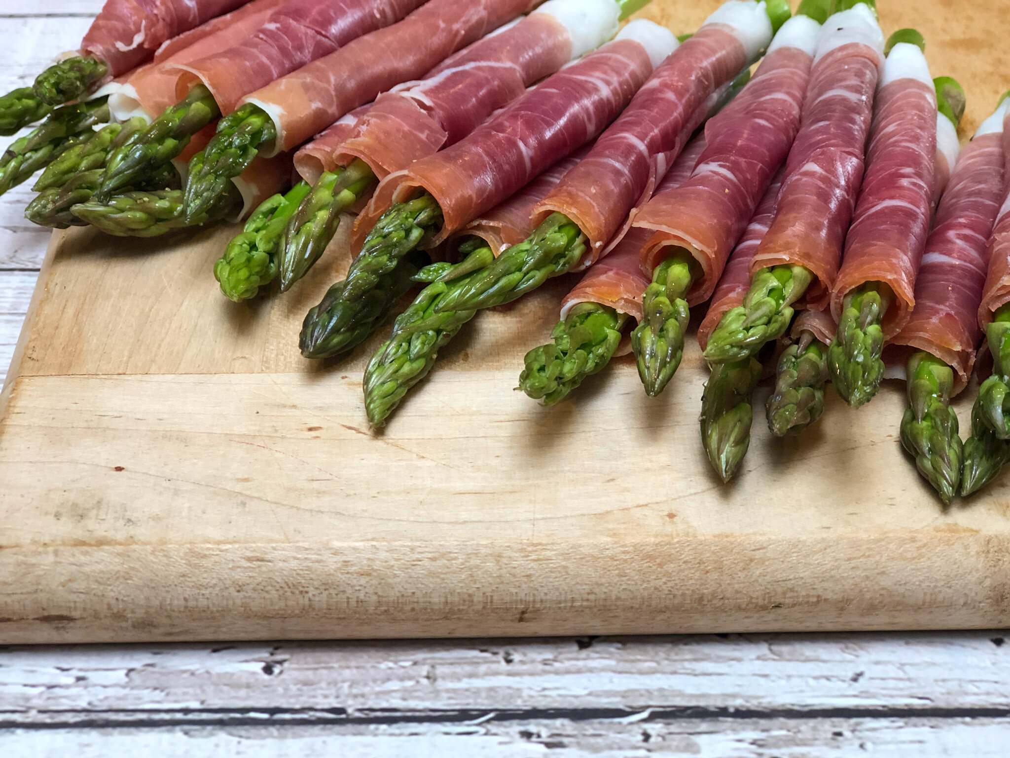 Prepped asparagus for super easy appetizers.