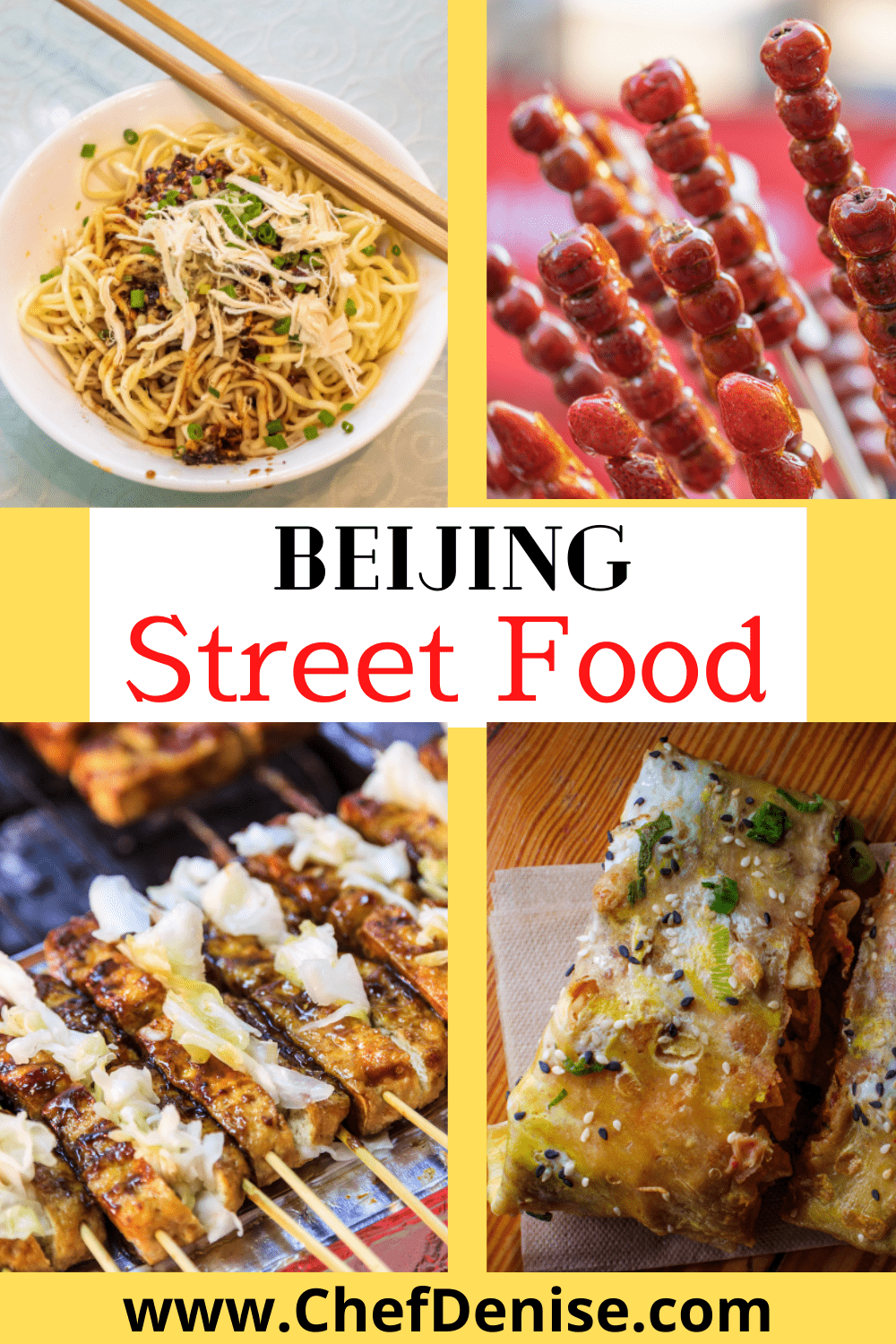 Beijing street food dishes stinky tofu, noodles, hawthorn berries, and jianbing.