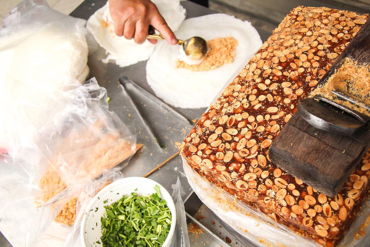 Taiwanese Peanut Ice Cream wraps make a delicious dessert in Taipei.