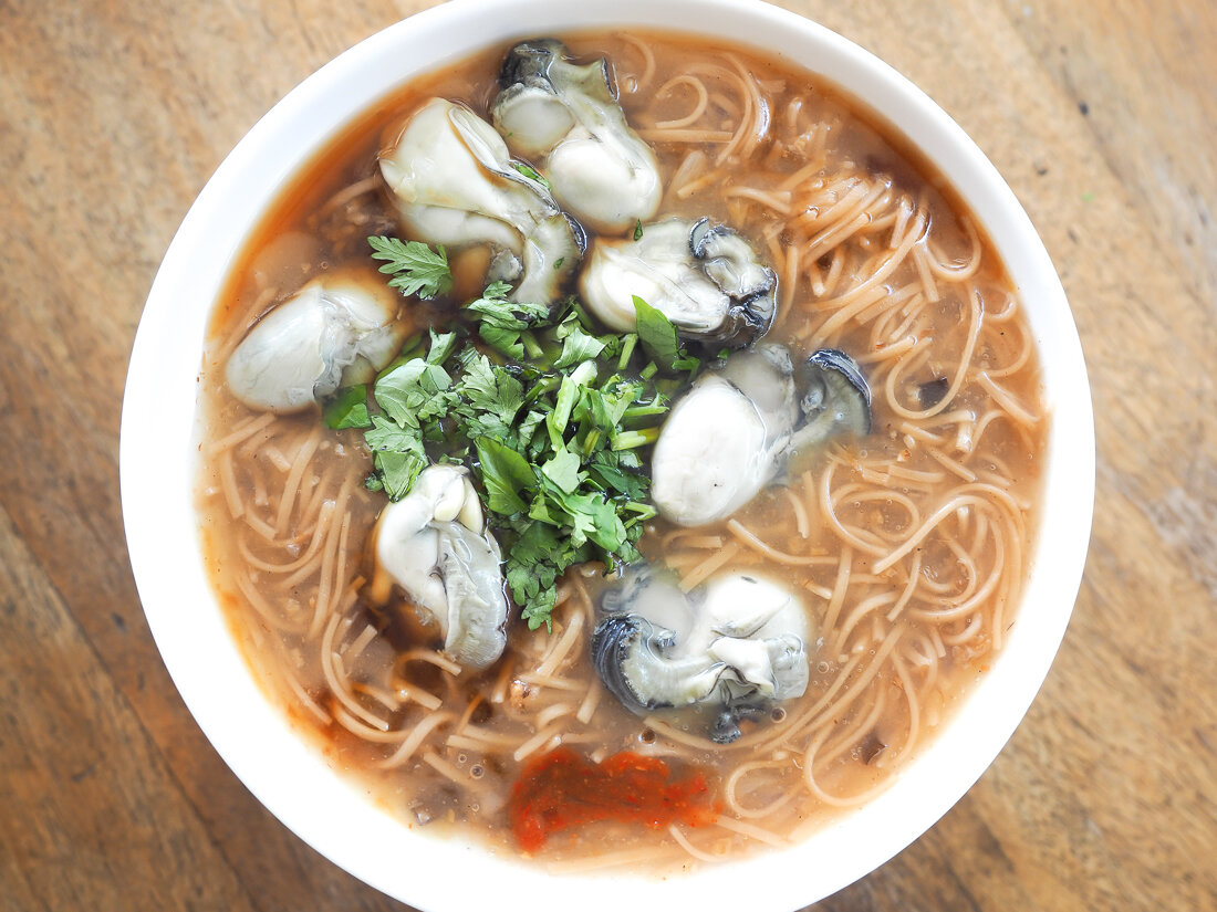The Taiwanese breakfast, Oyster Vermicelli.