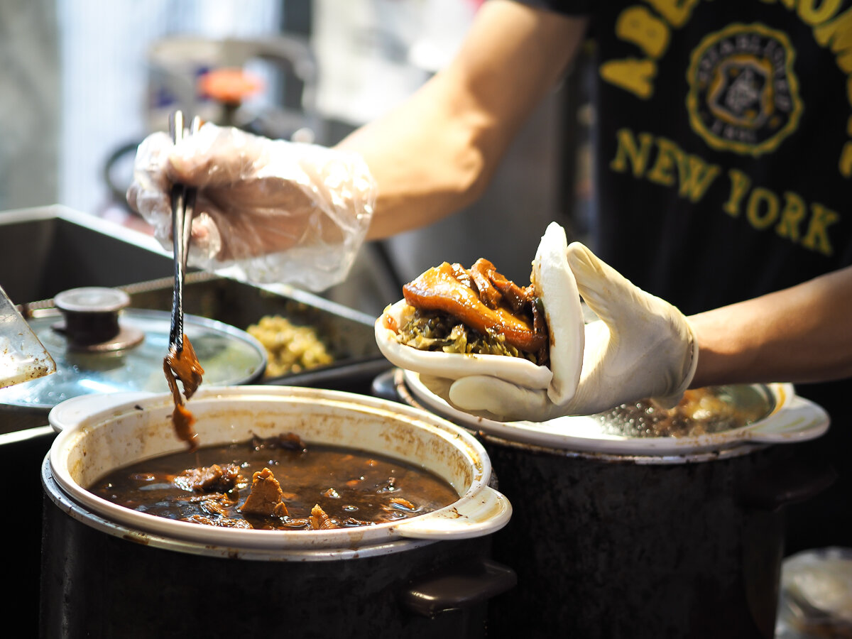 The world famous Taipei street food, Gua Bao with pork belly.