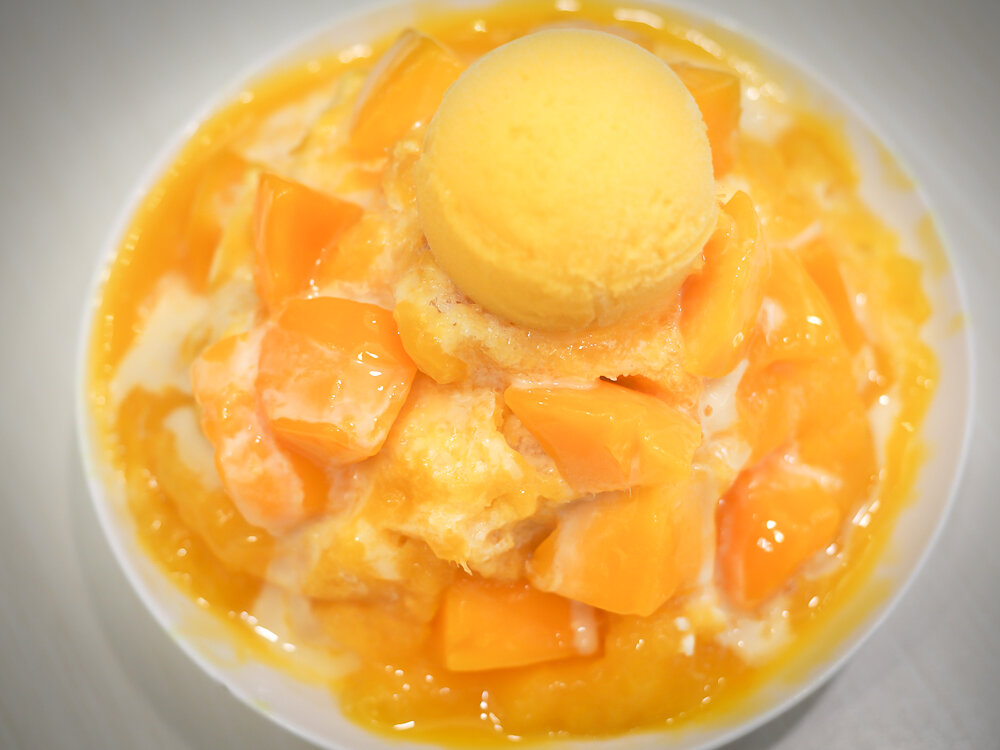 Mango Shaved Ice served as street food in Taiwan.