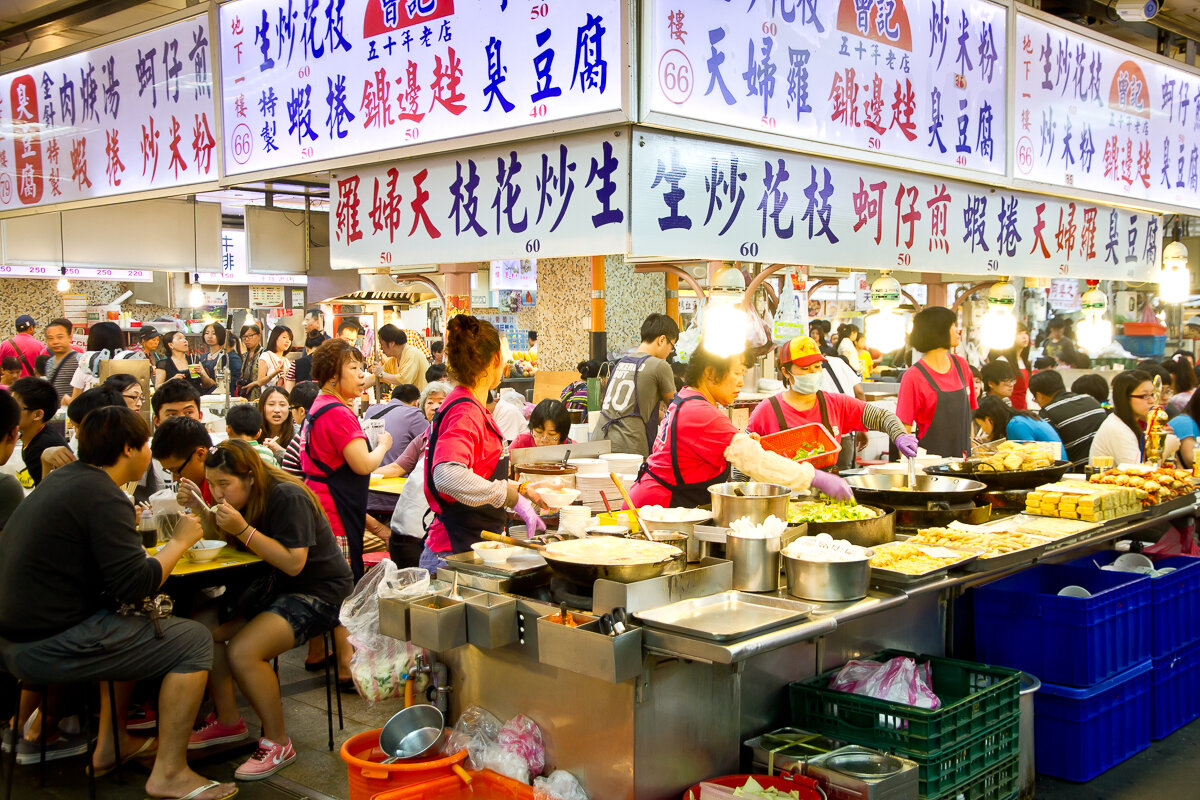 Taiwan street foods in Taipei Shilin night market.