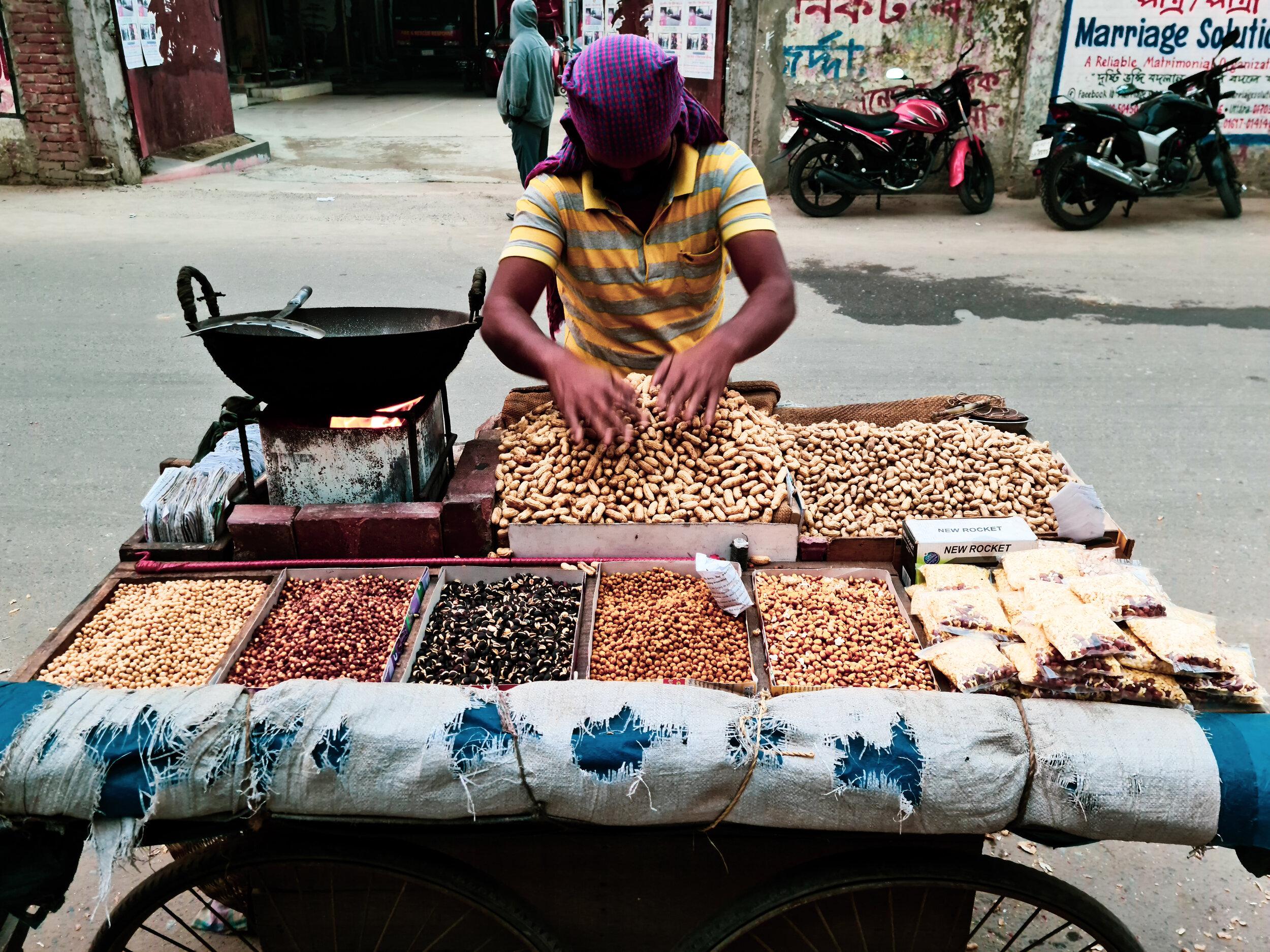 Badam & Boot roasted on the Dhaka street.