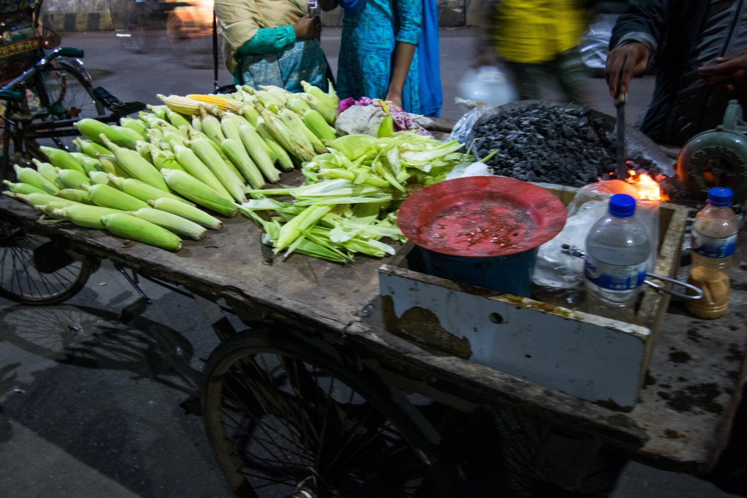 Fresh Roasted Corn makes a reliable vegetarian street food in Dhaka.