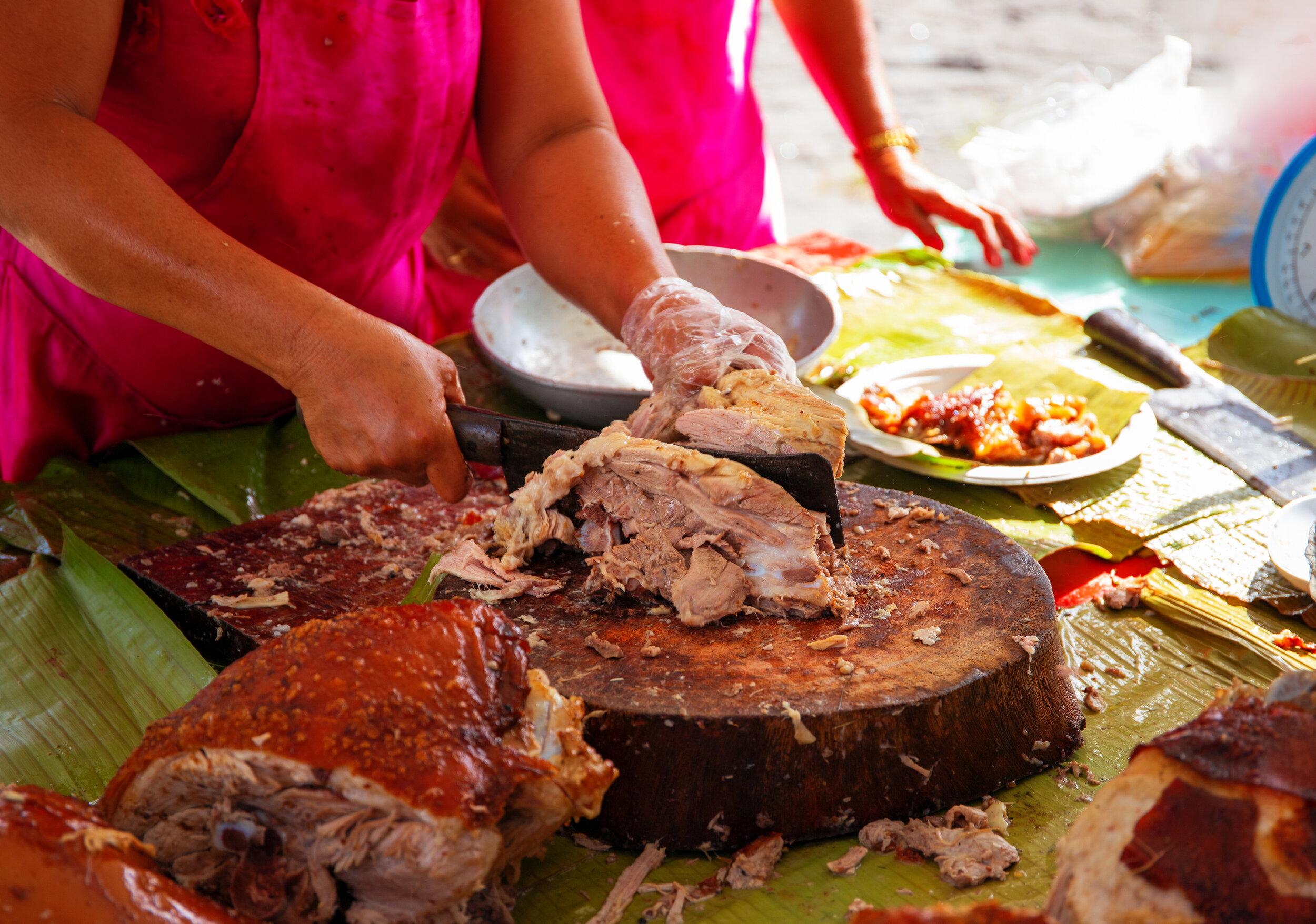 The filipino street food lechon, suckling pig.