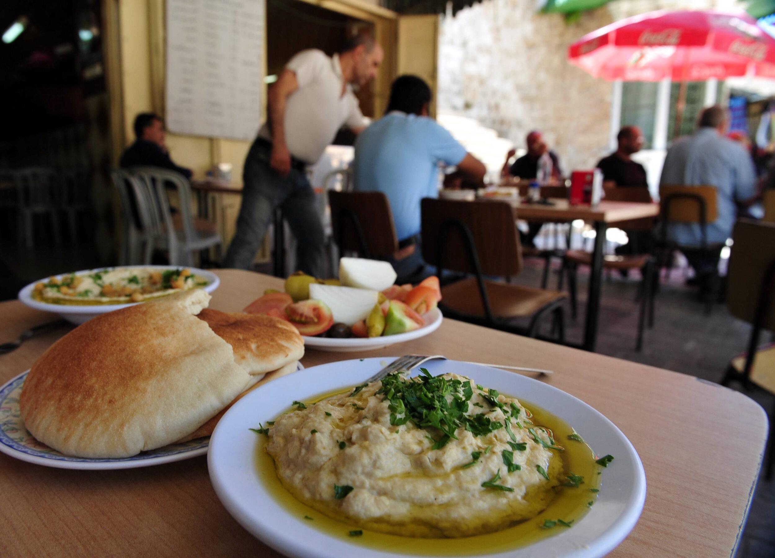The Israeli street food, hummus and pita.
