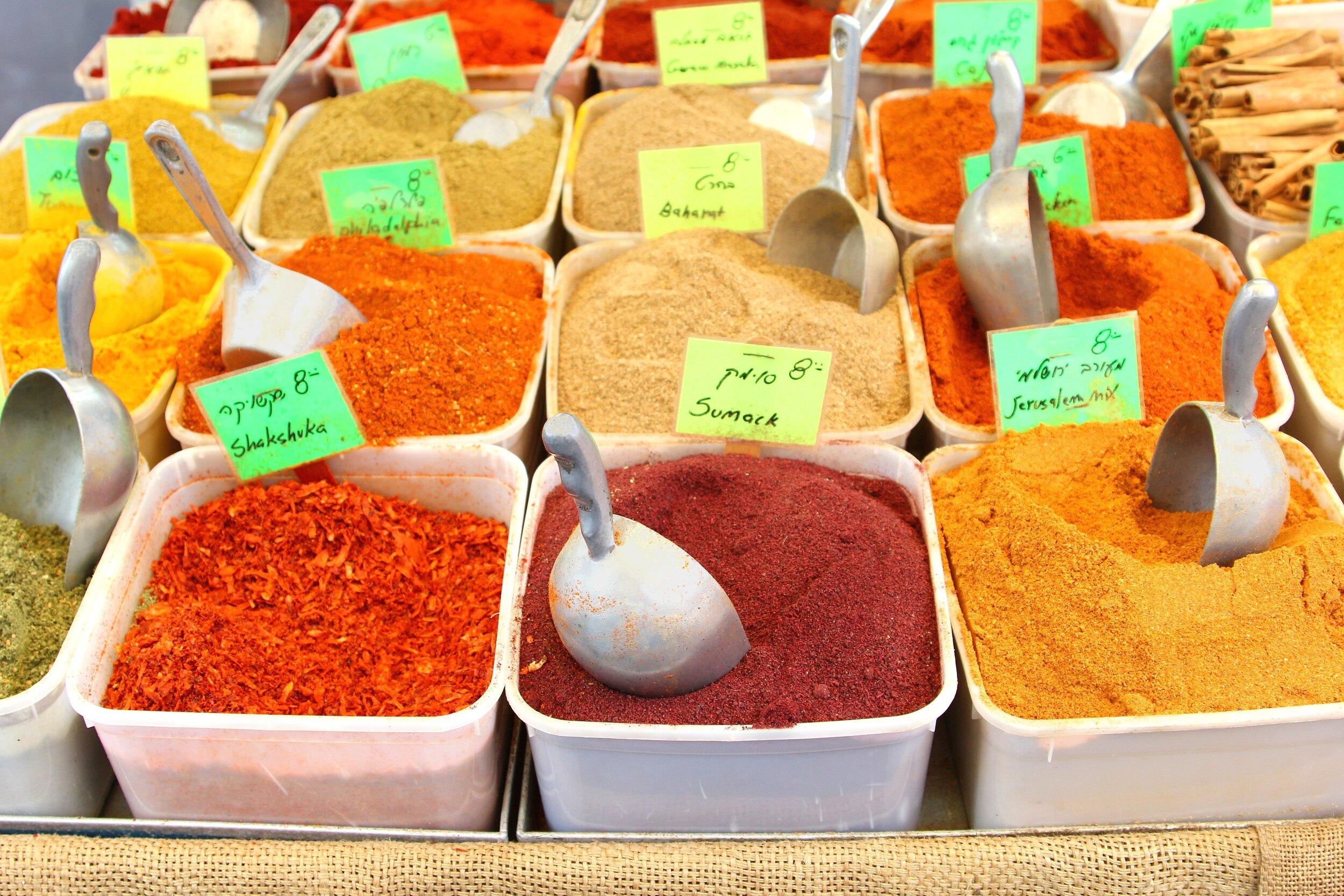 Spices at Shuk ha Carmel street food market in Tel Aviv.