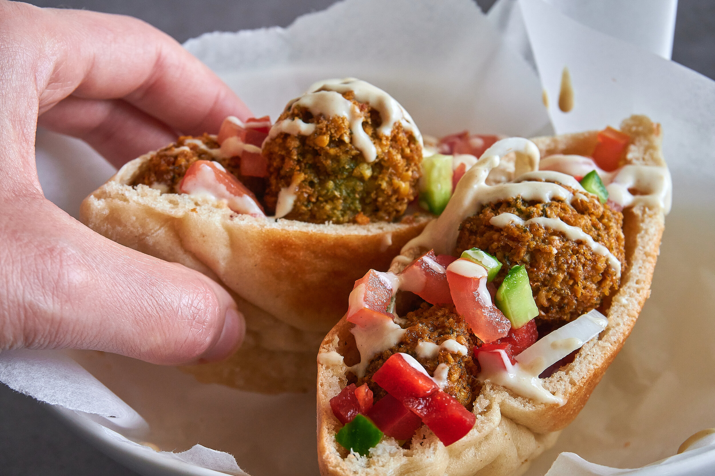 The famous Israeli street food, falafel.