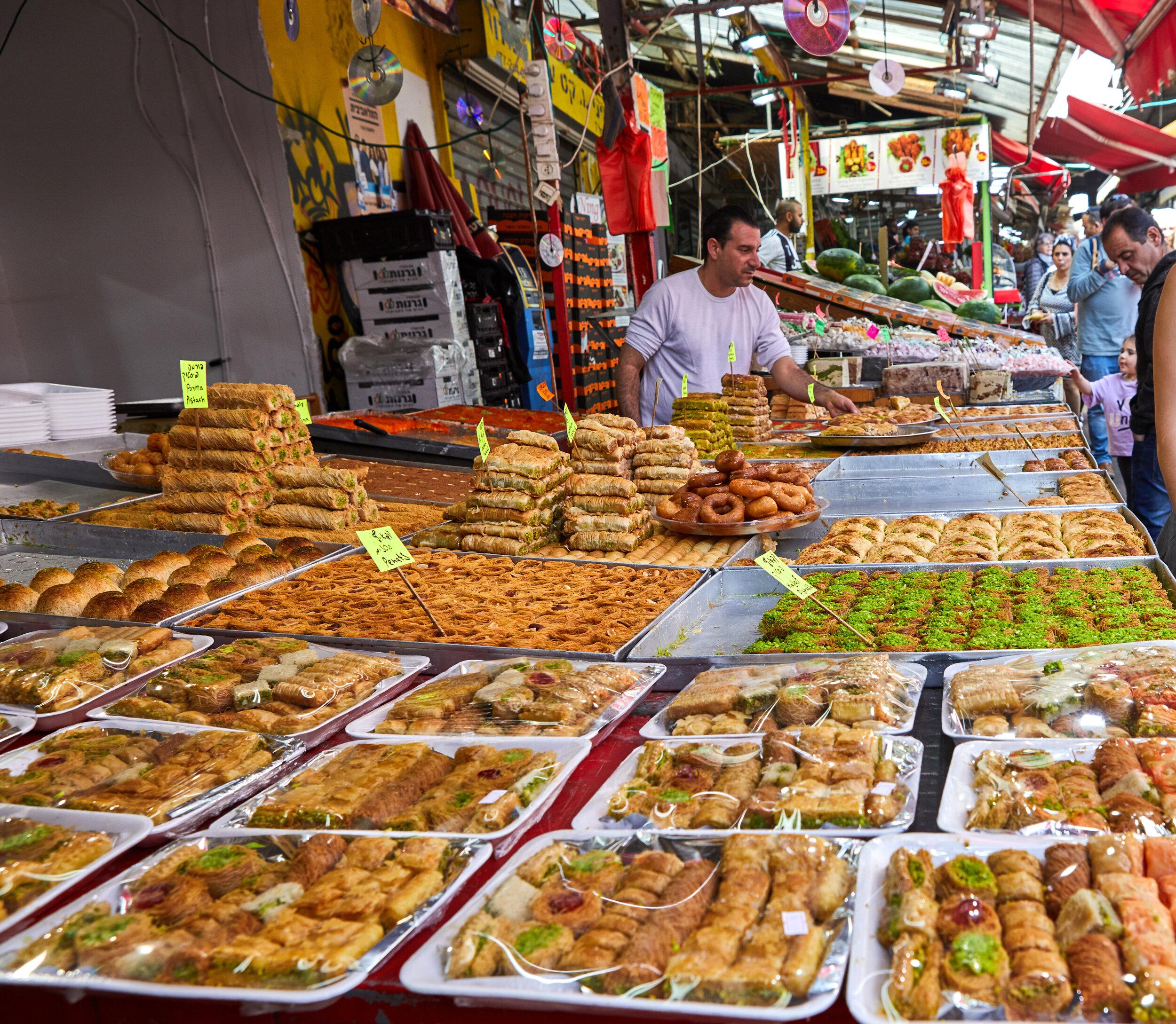 Israeli street food at the open market in Tel Aviv.
