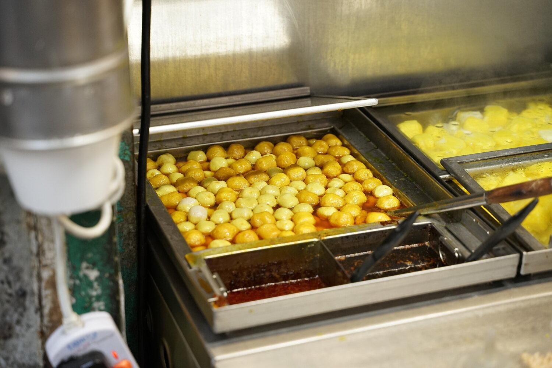 Fish Balls street food in Hong Kong.