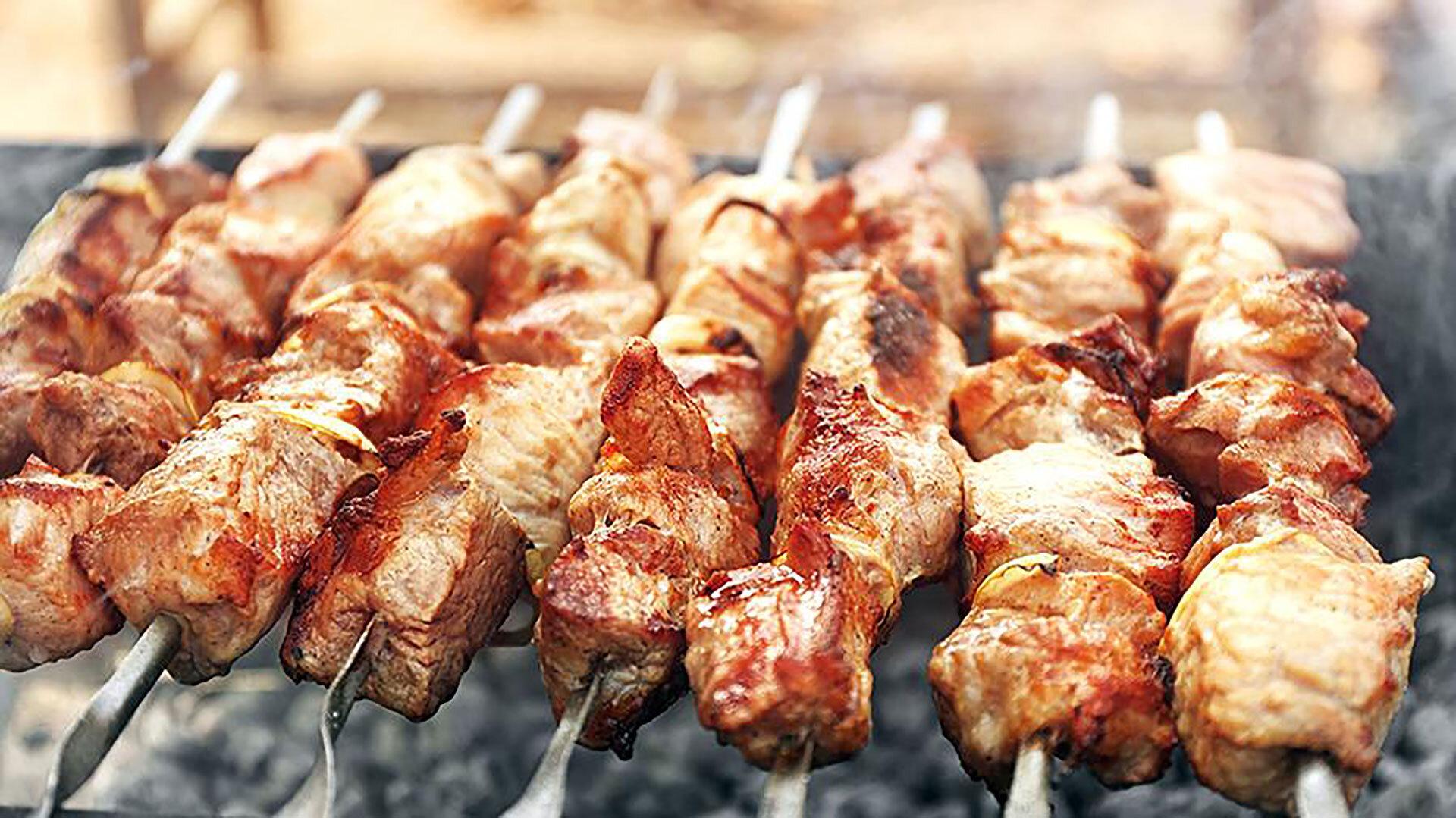 Yakitori street food in Tokyo, chicken skewers.
