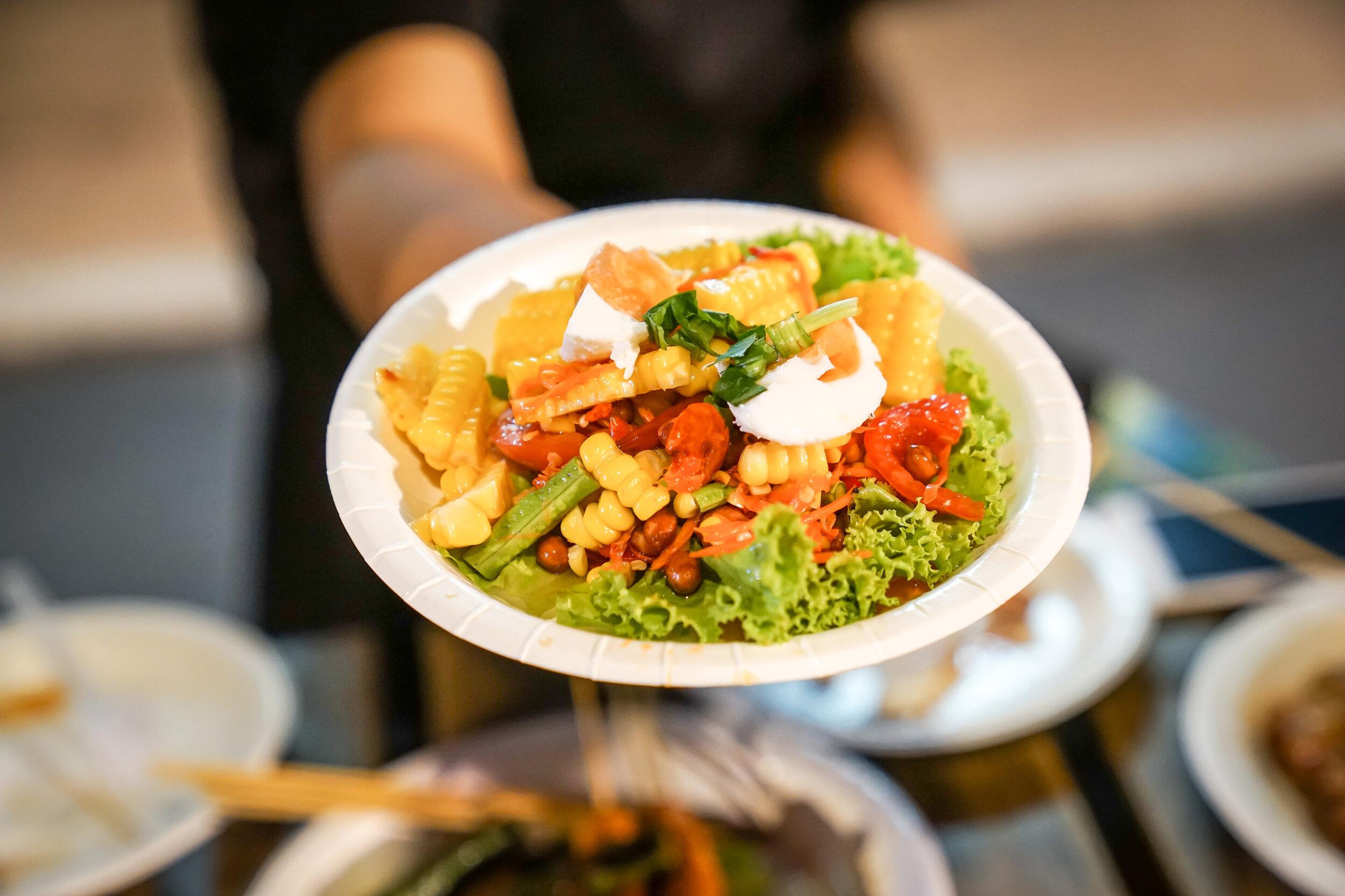 Papaya salad Thai street food.