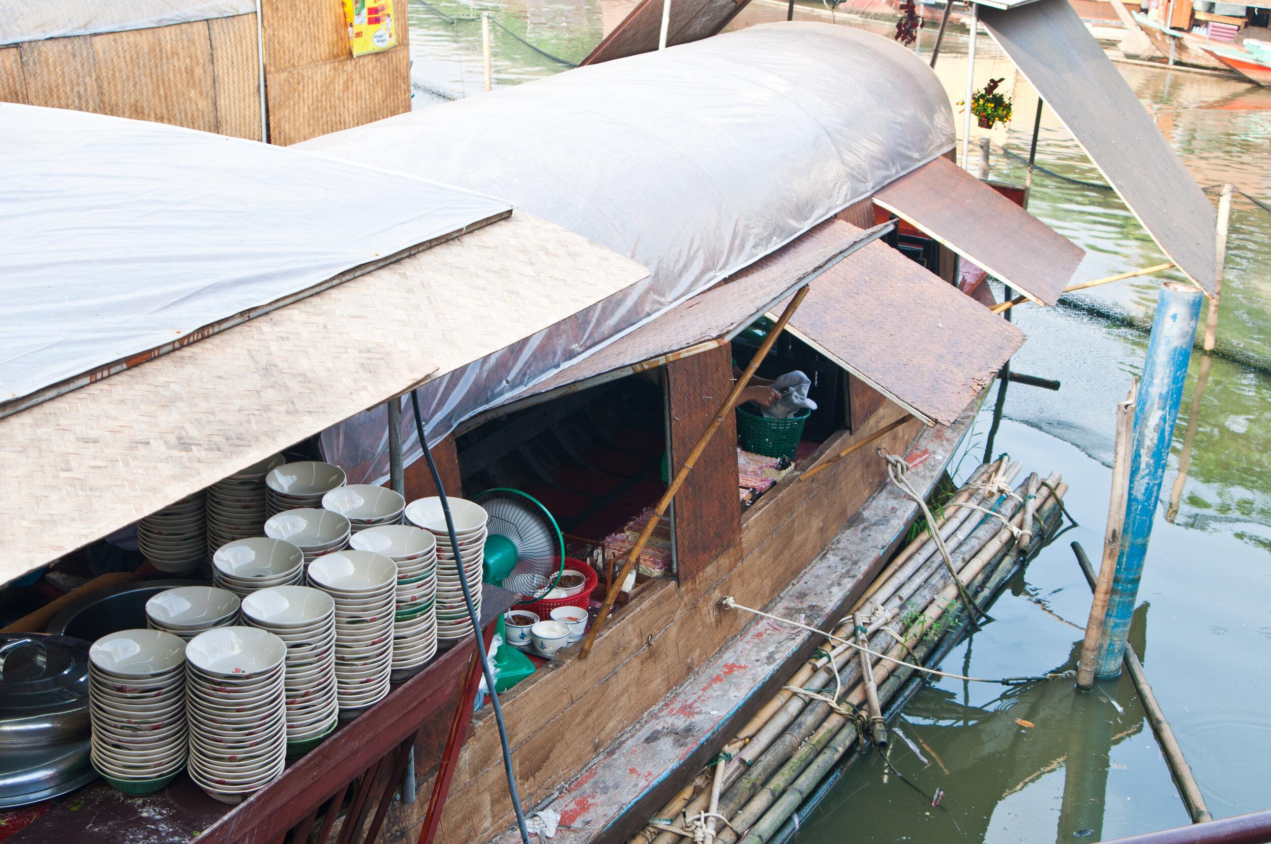 Thai street food sold off a boat in Bangkok.