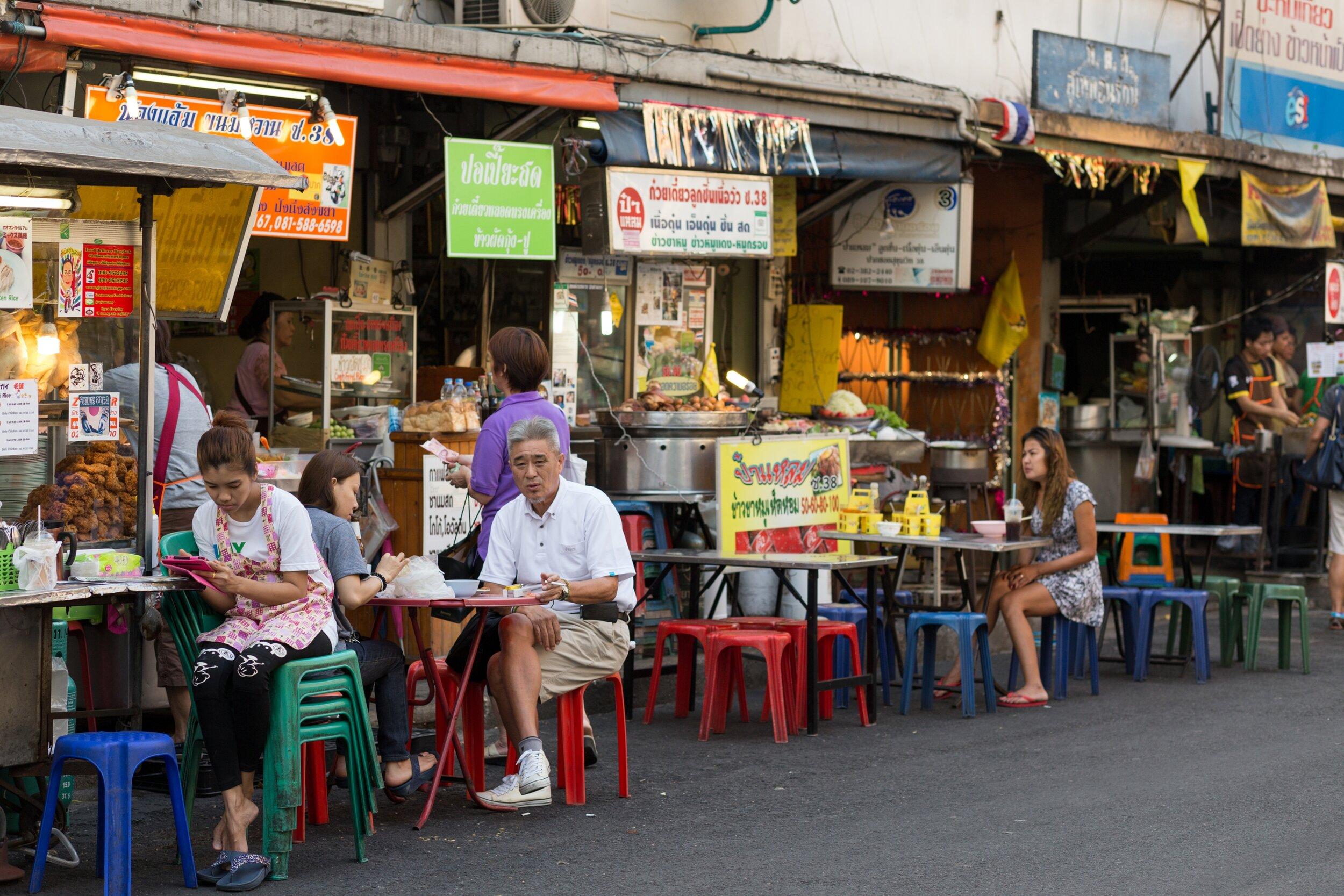 Thai street food at Bangkok night market.