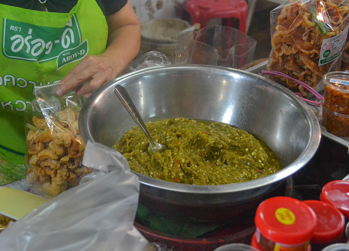 Street food in Chiang Mai are served with chili dips.