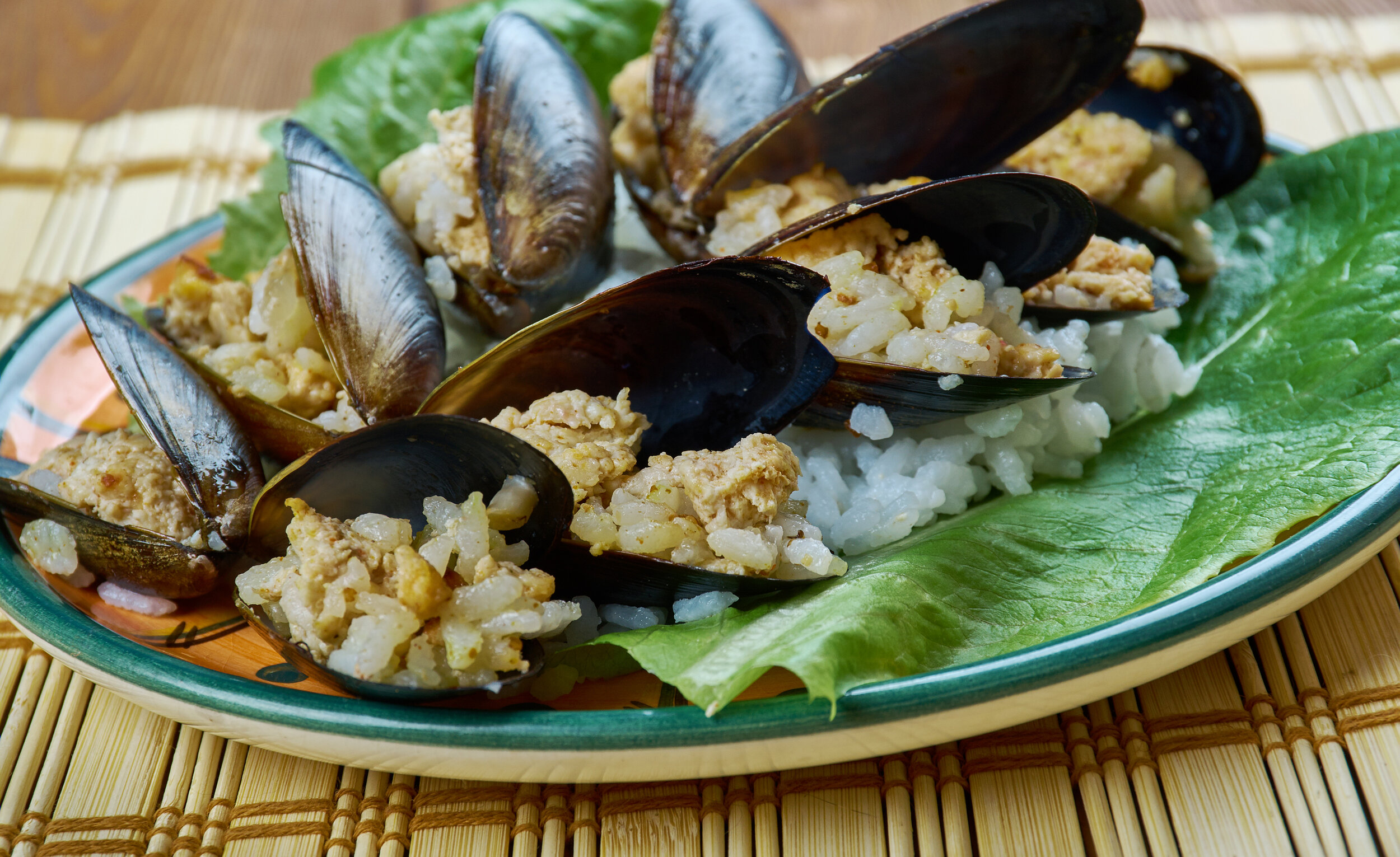 Turkish snack of mussels is Istanbul street food.